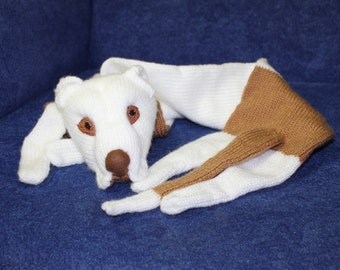 Knitted pit bull scarf/  Soft Scarf /  white and biege  / Dog scarf / knited dog scarf / animal scarf / pets / pitbull