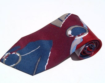 Vintage 1980s Red and Navy Abstract Circles Polyester Tie by Johnny Carson