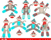 Sock Monkeys in Red and Aqua Clipart Set
