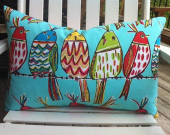 Colourful turquoise birds on a wire pillow cover rectangle