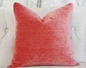 Coral Pillow Cover - Velvet Striped Pillow Cover - Salmon Pillow Cover - Soft Pillow Cover - Motif Pillows - Coral Home Decor