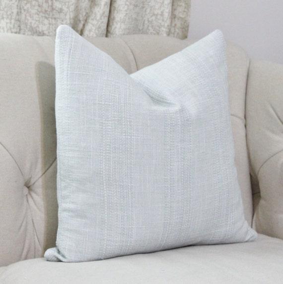 Blue Striped Throw Pillow Cover : Sky Blue Pillow Light Blue Woven Stripe Pillow Cover Cotan