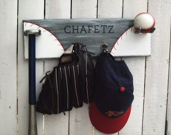 Baseball Decor Wall Rack Hanger Functional Sports Art Ball Team Sporty Team Baseball Theme Athletic  Man Cave Kids Room School Colors Gray