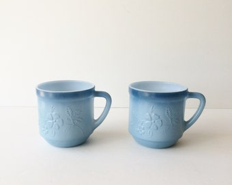 Vintage Stacking Cups, Two Tone Blue Fade Mugs, Floral Embossed Mugs, Blue Ombre Milk Glass Mugs
