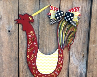 Chevron Rooster Wood Rooster Wall Decor Rooster Decor Rooster Door Hanger