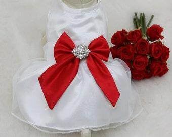 Red Dog Dress, Dog Birthday gift, Pet wedding accessory, Rhinestone, dog lovers, Proposal idea, Red wedding, Love Red, Valentine day gift