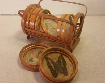 Bamboo and Butterflies VINTAGE Six COASTER SET with Bamboo Holder