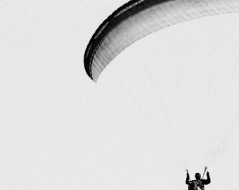 Paragliding Print, Art Poster, Travel Print, Black and White Photography, Minimal Art, Gift for Brother, For Him, Masculine Wall Art