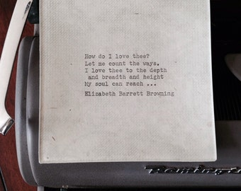 "Trinket dish, Decoupaged glass tray, Elizabeth Barrett Browning ""How do I love thee?"" sonnet, 1950's Remington typewriter"