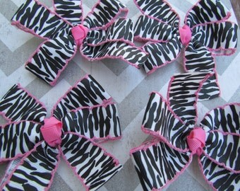 Small Zebra Print Hair Bow