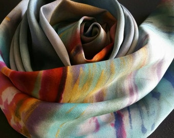 Monet inspired Handpainted ocean landscape scarf, silk head bands, one-of-a-kind scarf, gold, turquoise, purple, sky blue, gifts for her