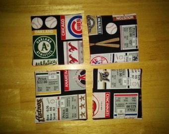 MLB Coasters/ Baseball Coasters/ Fabric Coasters/ Coasters