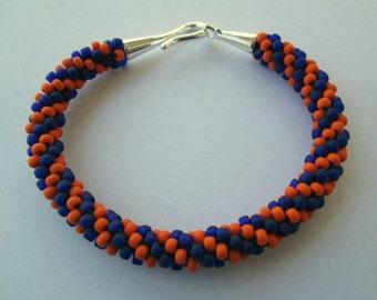 Detroit Tigers Bracelet, Detroit Tigers Jewelry, Beaded Bracelet, Beaded Jewelry, Beaded Rope Bracelet, Kumihimo Bracelet, Kumihimo Jewelry