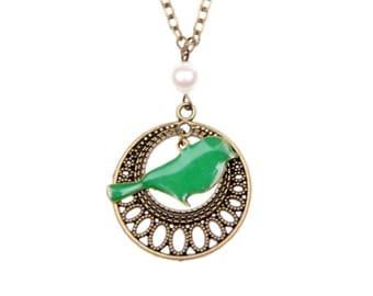 Necklace green bird