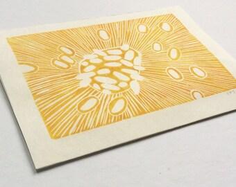 linocut - NUCLEUS, yellow - 5x7 art / printmaking / block print / nature art / contemporary