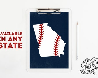 INSTANT DOWNLOAD, Baseball State Art, Texas, Tennessee, Georgia, Available in ANY State, Printable, No. 569