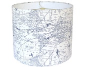 Custom Lamp Shade - Airplane Lamp Shades - Map Lampshade - Air Traffic by Premier Prints - Navy and Ivory - Made to Order