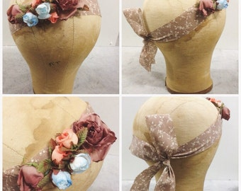 Vintage floral french toile ribbon head piece bridal flower girl