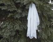 Elbow Length English Net Wedding Veil Made to Order 1 Tier Scalloped Edge