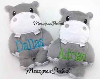 Personalized Gray Stuffed Hippo Soft Plush