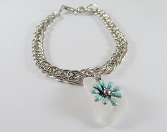 Blue Flower and White Seaglass Charm Silver Bracelet