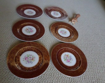 Six-Vintage Solian Ware Burgundy-Maroon-Gold Filigree/Floral Spray Center Dinner Plates/Dish/Serving