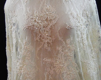 Lace, Beaded Bridal Lace, Ivory Beaded Lace, Wedding Lace 6-042