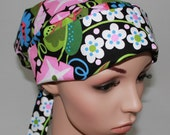 Pleated back Surgical Scrub Hat with band. Fiesta Flower- 21109