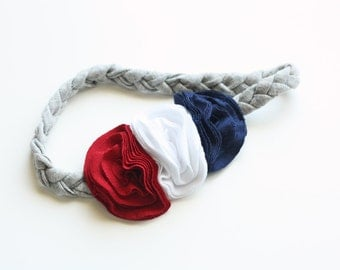 Red, White and Blue Braided Jersey Knit Flower Headband