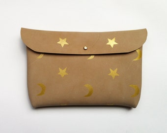 Purse // Pouch // moon and stars in gold