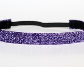 "Purple Sparkle Non-Slip Headband 3/4"", Glitter Headband, NoSlip Headband, NonSlip Headband, Running, Marathon, Spinning, Dance, Cheer, 5k"