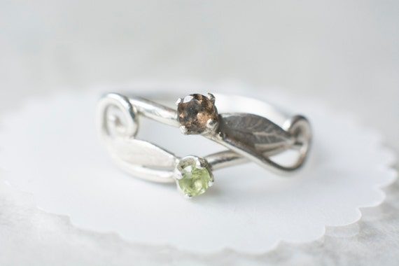 Swirly Elvish Forest Leaf Engagement Ring with stones