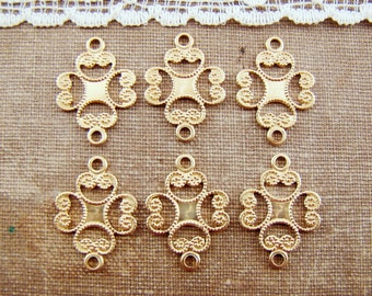 Ornate Lace Filigree Connectors Links Raw Brass Earring Finding Drop 17mm - 6