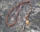 Lariat Leather Long Tassel LOVE Zen Yoga Beaded Necklace Charm Ceramic Pendant Necklace