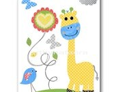 Blue Yellow Green Gray Giraffe Nursery Art Print Baby Boy Nursery Print Kids Wall Art Childrens Art Print Kids Art Kids Room Decor