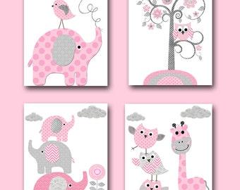 Giraffe Nursery Art Elephant Nursery Decor Baby Shower Gift Kids Art for Children Kids Wall Art Baby Girl Nursery Print set of 4 Pink /