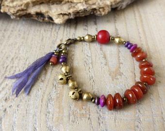 Sale / bohemian bracelet, hippie gypsy jewelry, yoga bracelet, boho chic bracelet, gemstone bracelet, gift under 50