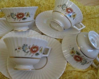 Lenox Temple Blossom Teacup Saucer sets  Brand NEW old stock, Temple Collection Gold backstamp, 4 sets included