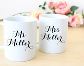 Mr and Mrs Coffee Mugs, His and Hers Coffee Mugs, Wedding Gifts for Couples, Engagement Gift
