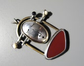 "Vintage EAMES ERA Face Pendant -- Sterling Silver/Brass with Carnelian, Amethyst and Bone, Signed, 11.6g, 2""+ Long, Excellent Condition"