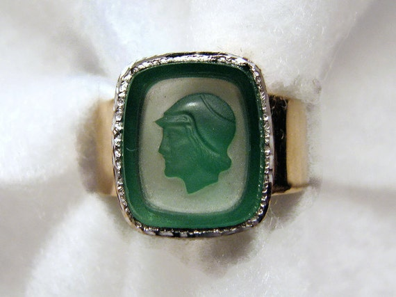 Reduced -- Green/White Glass Intaglio Ring, 10K White/Yellow Gold, Roman Soldier, Artisan Made, Size 9