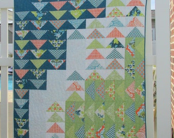 Lap, throw, couch, toddler bed patchwork teal green white flying geese quilt blanket