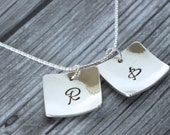 Initial Square Charms Sterling Silver / Hand Stamped / Personalized Necklace