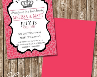 Hot Pink Cheetah Baby Girl Shower Invitations - Printable option