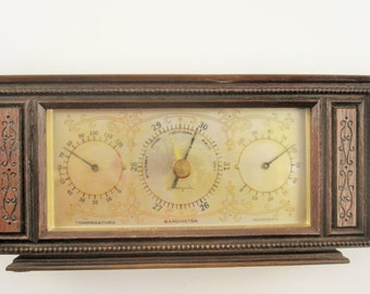An Airguide Weather Station in Wood Cabinet - Made in Chicago, USA - Temperature, Barometer and Humidity - Brass Decorated Dials