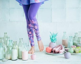 Strawberries with milk -  light purple leggings
