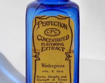 Nice deep cobalt BLUE colored pre AVON antique CALIFORNIA Perfume Company bottle, early Hand Blown over 100 Years Old !