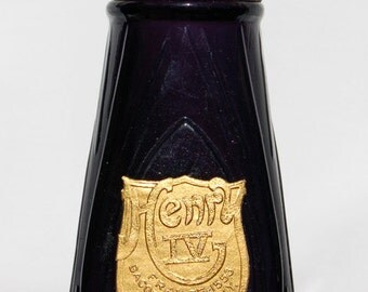 Exquisitely PURPLE original antique Bacorn's HENRY 4th SACHET bottle, early Hand Blown - over 100 Years Old - w/ Brass Cap !