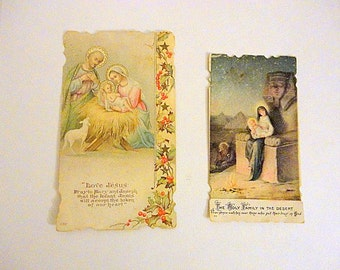 Vintage Prayer Card SET of 2 Holy card 1900s Antique Religious Collectible Mixed media supply