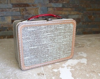 Vintage lunchbox - 1950s metal luggage tweed lunchbox made by the American Thermos Bottle Company
